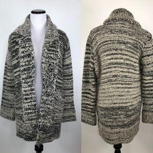 Zara Knit Chunky Open Front Cardigan Black Beige